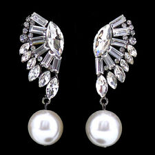 Twinkling Full Crystal Angel Wing Dangle Dangly Big Pearl Czech Crystal Earrings