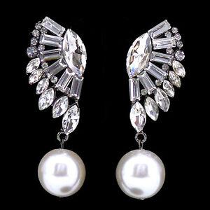 Twinkling Full Crystal Angel Wing Dangle Dangly Big Pearl Czech Crystal Earrings