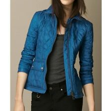 NWT BURBERRY WOMEN IVYMOORE BLUE CLASSIC QUILTED CHECK ZIPPER JACKET COAT SMALL