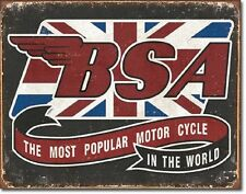 Bsa Most Popular Motorcycle In The World Tin Sign Shop Wall Poster Decor Ad