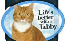 "Life's better with a Tabby (Cat)6""x 4"" Oval picture Magnet Made in Usa Blue New"