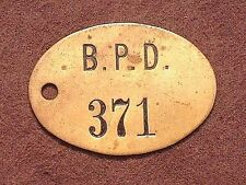 Antique B.P.D. Police Department Brass Key Tag