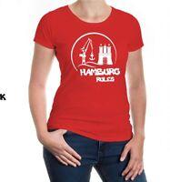Damen Kurzarm Girlie T-Shirt Hamburg Rules Silhouette Hafen City Metropole Stadt