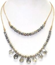 Double layer Smokey Silver Shimmering Glass Beads