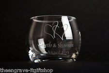 Glass Barrel Tea Light Candle Holder  Personalised Engraved Wedding & Gift Boxed