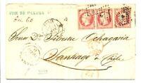 FRANCE 1860 LETTER -TO CHILI CHILE VIA PANAMA --F/VF