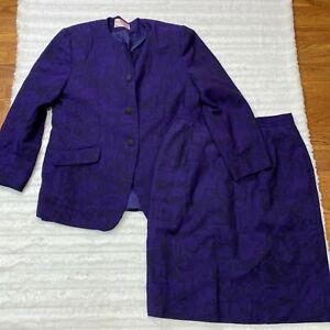 Pendleton Two Piece Suit Sz 14 Petite Virgin Wool Blazer Jacket and Skirt Floral