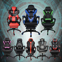 High Back Office Gaming Racing Chair Ergonomic Recliner Bucket Seat w/Footrest