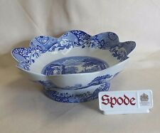 """SPODE BLUE ITALIAN SCALLOPED FOOTED BOWL 11 1/2"""" MADE IN ENGLAND *NEW*"""