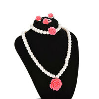 1 Set Kids Jewelry Necklace Bracelet Ring Ear Clips with One Flower Party LJ