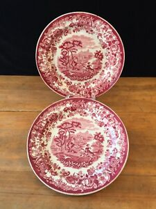 Pair of RED & WHITE TRANSFER 18th C Plates AMAZONE Maastricht Petrus Regout