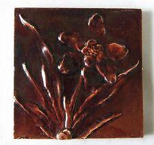 Burmantofts Tile Victorian Antique Pottery Daffodil Flower Eastlake Aesthetic