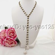 K091201 52'' White Keshi Pearl Onyx Long Necklace