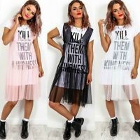 Ladies 'Kill Them With Kindness' Slogan Mesh Tulle Sheer Overlay T-shirt Dress