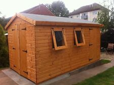 """Garden Shed 12x8  13mm t+g 2 opening windows 3x2"""" frame 1""""thick floor free erect"""