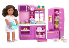 "GIRLS 18"" Doll COMPLETE KITCHEN SET w Food Fits American Girl 93pc Purple Age 3+"