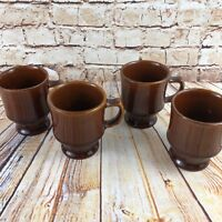 Vintage Stoneware Mugs Set of 4 Cups Coffee Tea Heavy Pedestal Restaurant Style