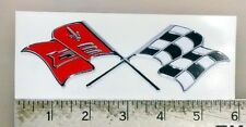 "Vintage Chevy Chevrolet Cross Flags sticker decal 5.6""x1.8"""