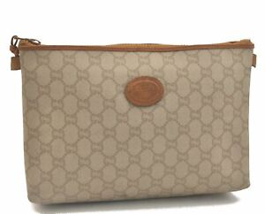 Authentic GUCCI Clutch Bag GG Plus PVC Leather Ivory White C3139
