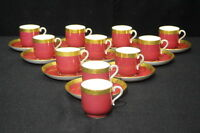 Set of 11 Minton England DEMITASSE CUPS AND SAUCERS MAROON & GOLD C. 1900
