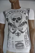 Herren T-Shirt BLACKROCK Skull Totenkopf Gangster Kurzarm weiß Gr. XL
