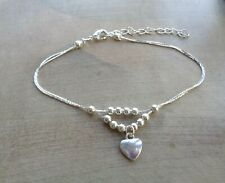 SILVER PLATED DOUBLE CHAIN ANKLE BRACELET / ANKLET WITH HEART CHARM -Adjustable