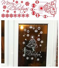 Merry Christmas tree snowflake baubles window/Wall/Door/Room Sticker Any Colour