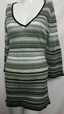 Spiegel Women's green V-neck 3/4 Sleeve Tunic Striped Knit Top NEW Sz SMALL(#a1