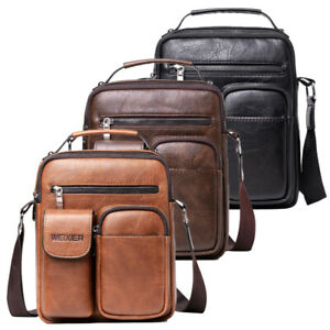 Men Leather Shoulder Bag Small Handbag Crossbody Messenger Bag Satchel Purse Bag