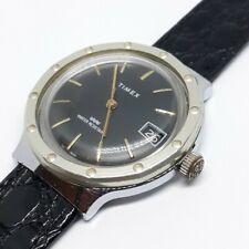 Vintage Timex Big Face MARLIN Mechanical Mens Watch Sportster Black Gold RUNNING