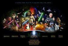 Star Wars Episodes 1-6 movie poster Skywalker, Solo, Vader, Empire, Jedi