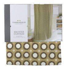 "NEW Threshold Yellow Circle Shower Curtain 72x72"" 100% Cotton Buttonhole Top"