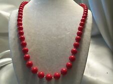 "Vintage Strand of CRAYON DEEP RED Lucite FLAPPER LENGTH 30"" Necklace 14N745"
