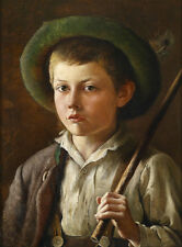 Art Oil painting portrait handsome young boy holding a stick wearing a hat NICE