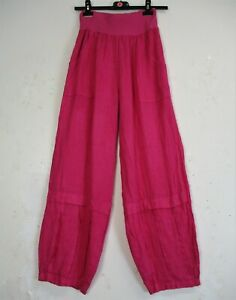 Lagenlook Ladies 100% Linen Italian Trousers Sizes: S (8/10) M(12/14) L(18/20)