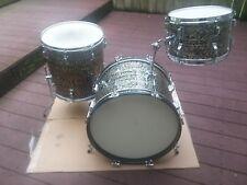 Vintage 60's Rogers 3pc Holiday Black Onyx Drum Set-Very Clean