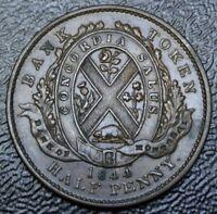 1844  CANADA HALF PENNY BANK TOKEN - COPPER - Bank of Montreal - Br527  PC-1B3