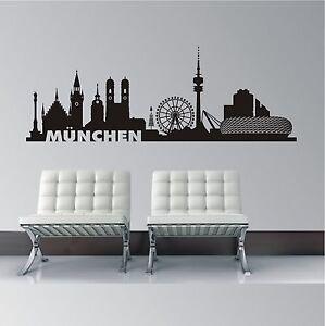 WANDTATTOO Wandaufkleber Stadt Wandsticker Skyline München Wohnzimmer WT 584