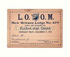 ORIGINAL AND RARE 1915 L.O.O.M NEW ORLEANS LODGE No 477. EUCHRE AND DANCE CARD.