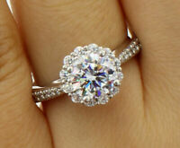 2.25 ct Round Diamond Halo Flower Engagement Wedding Ring In 14k White Gold Over