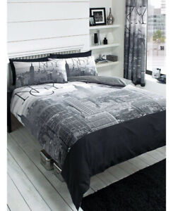 NYC Double Size Polycotton Duvet Cover Set With Pillowcases