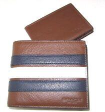 Coach Men's F24649 3 In 1 Varsity Stripe Leather Wallet Saddle Navy Chalk NWT