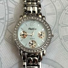 Rawlings Silver Women's Watch Crystal Round White Chronograph Dia Silver Bandl!