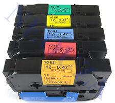 5PK color Label Tape Compatible for Brother TZ TZe B31 431 531 631 731 PT-H105