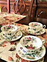 3 SETS Wedgwood China WD3984 Charnwood White Teacups with Saucers