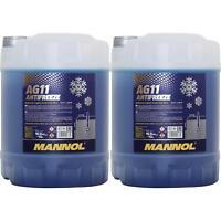 2x 10 Liter MANNOL Kühlerfrostschutz Typ G11 Longterm Antifreeze AG11 -40°C blau