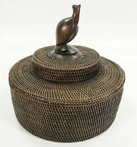 Vintage Balinese Woven Basket With Hand-Carved Turtle Art Figure
