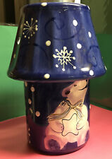 LARGE CERAMIC BLUE SHADE & BOTTOM JAR HOLDER SNOWFLAKE & POLAR BEAR Preowned)