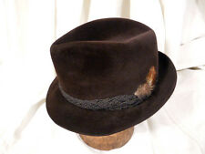 Vintage Resistol Self-Conforming Fedora Hat Velour Finish Brown 7 1/4