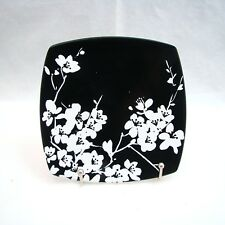 222 Fifth (PTS) MIA BLOSSOM BLACK & WHITE Square Appetizer Plate(s) 5 7/8""